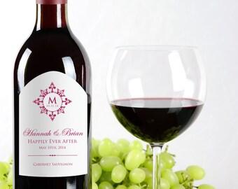 Monogram Wine Labels Wedding - Personalized Wedding Wine Labels - Wedding Favor - Wedding Reception - Decor - Monogram Sticker