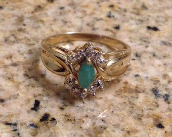 14K Gold Ring with Marquise Cut Emerald and Diamond Accents (st - 1393)