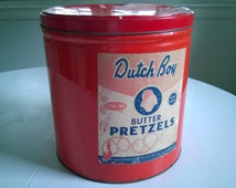 Vintage Dutch Boy Butter Pretzels Cannister --- Large Decorative Tin --- 1940's 1950's Diner Kitchen Home Decor --- Shabby Chic Snack Foods