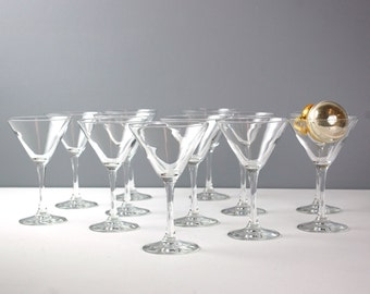 S/12 Crystal Champagne Coupes, Vintage Toasting Glasses, Martini Glasses, Simple Champagne Glasses