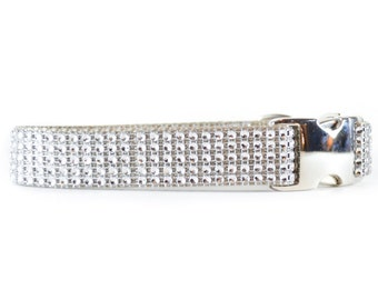 Silver Rhinestone Dog Collar, Bling Wedding and Special Occasion Dog Collar