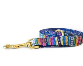 Blue Maya Dog Leash - Tribal Aztec Mayan Guatemalan Woven Textile Leash with Brass or Silver Hardware