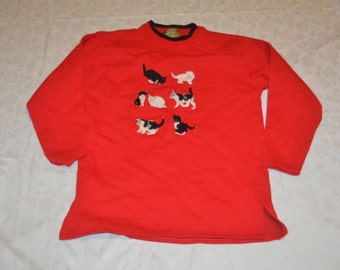 Womens Red Sweatshirt with Embroidered Cats - Size Medium