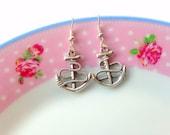 Sailor Earrings Anchor Earrings Cute Jewellery Kawaii Jewelry Ocean Jewelry Costume Jewellery Gift for her silver earrings charm