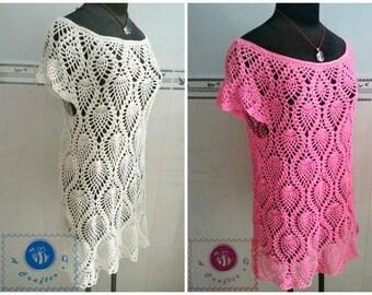 Crocheted pineapple dress/ top ( size XL ) - free worldwide shipping
