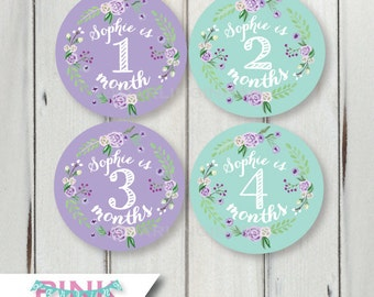 Personalized Baby Name Monthly Milestone Stickers – Purple & Mint Green Floral Wreath Baby Girl Bodysuit Months 1-12, 13-24, Just Born set