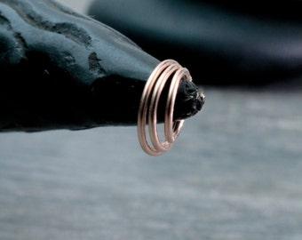 Rose Gold Nose Ring 14k Rose Gold Filled Endless Hoop Teeny Tiny, Tiny or Small 14k Rose Gold Filled Endless Hoop 22 gauge or 20 gauge