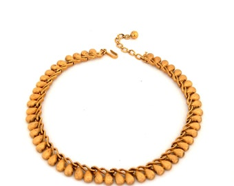 Vintage CROWN TRIFARI Gold Choker Necklace, Brushed Gold Tone Necklace Trifari, Mid Century Estate Jewelry