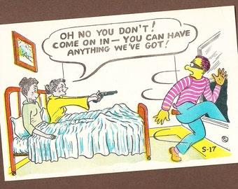 "Vintage Comic Postcard Risque Old Ladies Lesbians Robber ""Have Anything We've Got"", Cartoon Comic Postcard, Racy Risque Lewd Humor Ephemera"