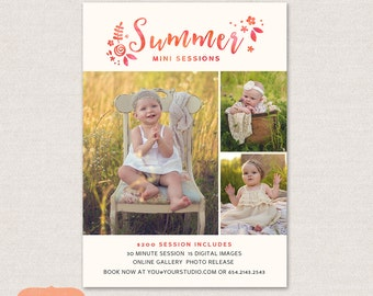 Mini Session Photography Marketing board - Spring Summer Minis MSU003 - Photoshop template INSTANT DOWNLOAD