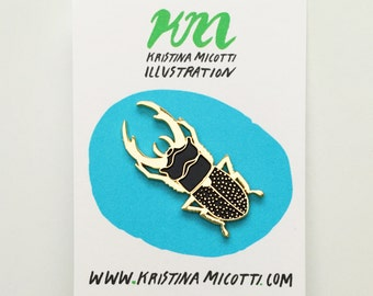 Black Beetle Lapel Pin