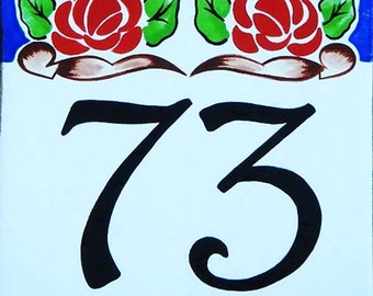 Rosa house number plaques, Hand painted Italian house numbers, Porcelain house numbers, Door address sign, Porcelain signs, Outdoor sign.