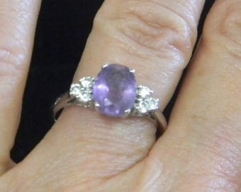 Sterling Silver 925 & Sapphire Ring SZ 6
