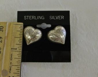 """Sterling Silver 925 Puffed Heart Post Earrings 1/2"""" Long # 6018"""