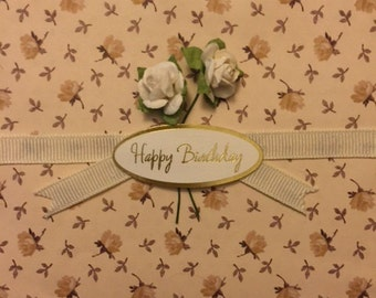 HAPPY BIRTHDAY Banner with flowers embellished handmade greeting card