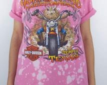 Vintage Pink Bleached Horny Toad Harley-Davidson Lizard Tee