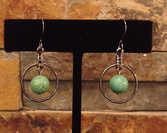 Small Real Turquoise Blue Green Pewter Hoop Earrings