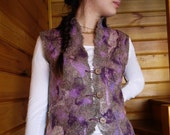 Nuno felted vest felt vest warm natur colour Eco boho style for woman. Avialable