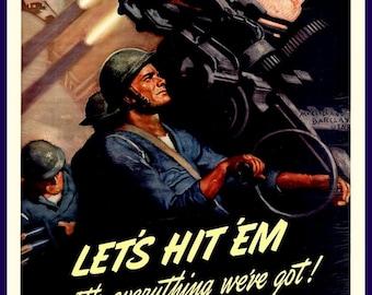 Art Print US Navy Gunners Recruiting Ad Print 1940s, WWII