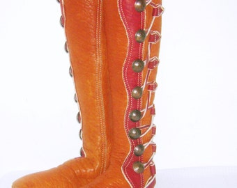 FOOTLOOSE Moccasin Boots Buffalo Skin Leather Renaissance Medieval Knee High 9 Half Penny Coin Tall Ship Buttons Moccasins Hand Made USA