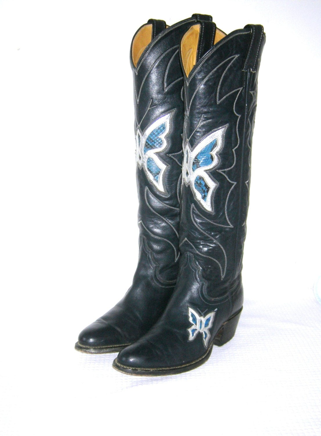 Vintage 1970s Justin Cowboy Boots Butterfly Inlay Snakeskin
