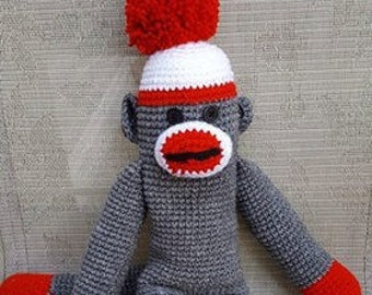 Crochet Sock Monkey *MADE TO ORDER* 18 inch Sock Monkey-Sock Monkey Doll-Amigurumi-Crochet Amigurumi Sock Monkey
