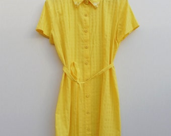 Lemon Sherbet Shirt Dress with Embellished Collar Tips