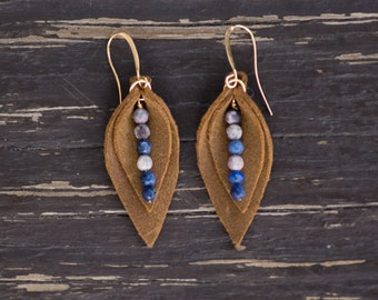 Leather Leaf Earrings // Brown and Blue