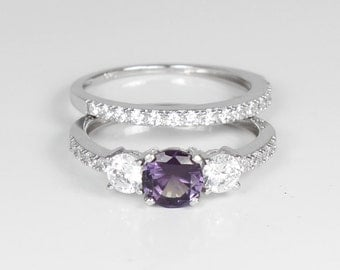 Color-Changing Alexandrite and Diamonds Engagement Ring Set Sterling Silver / Engagement Ring Silver