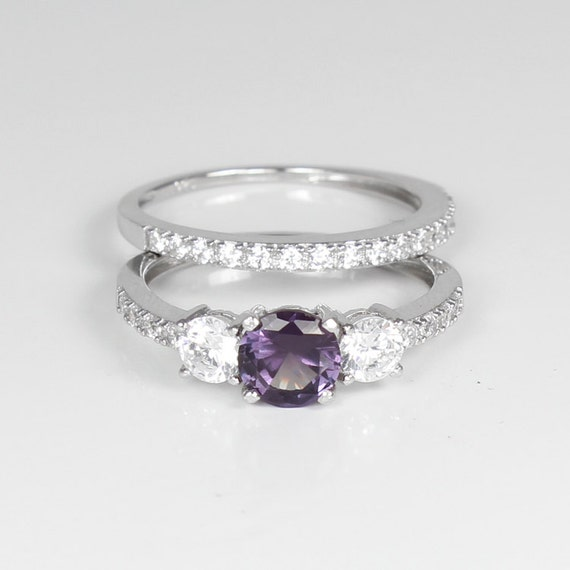 Colored Diamond Wedding Ring Sets: Color-Changing Alexandrite And Diamonds Engagement Ring Set