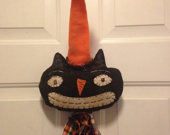 Halloween Black Cat Primitive Cat Decoration, Handmade Halloween Wall Decor
