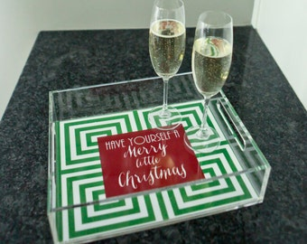 "Personalized Lucite Tray - hostess gift, entertaining tray 8.5""x11"" Christmas"
