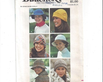 Butterick 3319 Pattern for Misses' Hats, 3 Variations, One Size, From 1970s, Millinery, Vintage Pattern, Shaped Hat, 6 Section Crown, Sewing