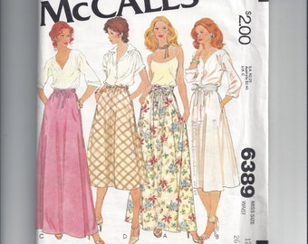 McCall's Pattern 6389 Pattern for Misses Set of Skirts, size 12. From 1978, FACTORY FOLDED & UNCUT, Great Vintage Sewing Pattern