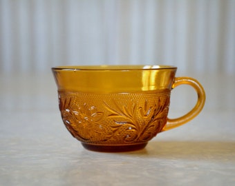 Sandwich Glass tea or coffee cup by Anchor Hocking in Desert Gold | Vintage Amber Sandwich Glass