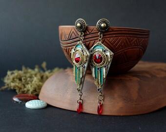 Art Deco Swarovski red earrings, Egyptian red Swarovski earrings ethnic, gothic filigree earrings, boho earrings with red Swarovski
