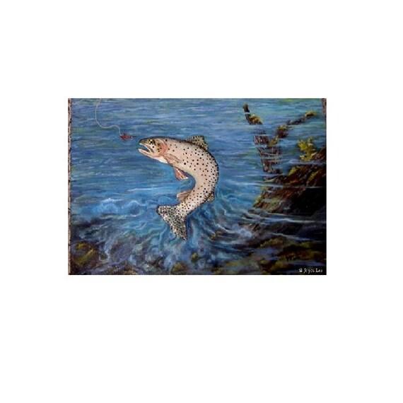 Angler's Choice Giclee Print By Wyoming Artist Joyce Lee   Giclee Print