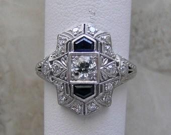 Antique Engagement Ring Diamond Sapphire Filigree Art Deco
