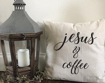 Jesus & Coffee pillow cover
