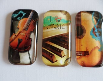 Musical Instruments -  Set of 3 rectangular glass magnets - 1x2 inch