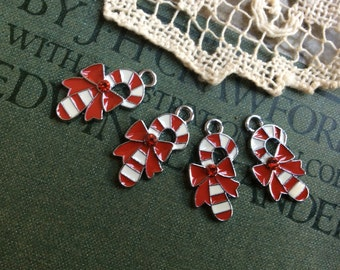 4x Enamel Candy Canes, Christmas Charms, Pendants C121