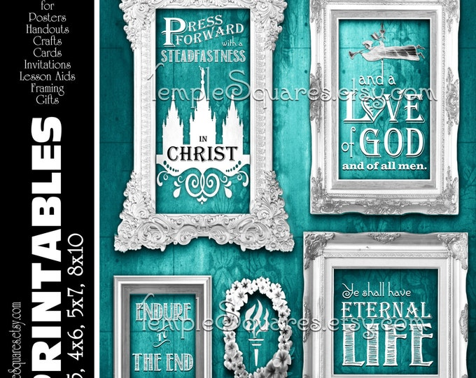 "Printable Posters ""Press Forward with Steadfastness in Christ"". 4 Printable sizes. LDS Young Women Teal instant download"