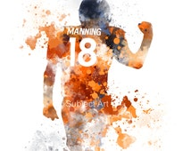 Peyton Manning ART PRINT illustration, Denver Broncos, NFL, Wall Art, Home Decor, Sport