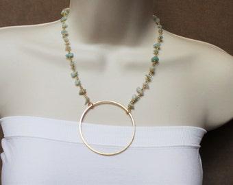 Rosary Choker with Gold Circle Pendant