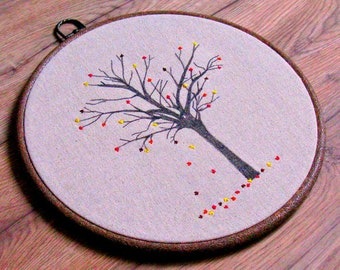 Autumn tree embroidered hoop art, nature art, rustic home decor, fall art wall hanging, embroidered tree art, whimsical, autumn bedroom art