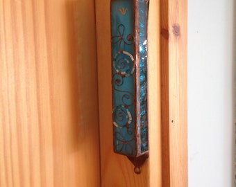 HANDMADE MEZUZAH CASE Special Blue Colors- Flowers ,Beads Filligree.Stained Glass,Wall Hanging,Ethnic Decor,Jewish Housewarming/Wedding Gift