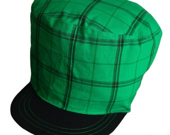 HIGH LEAF - Checkered Cap For Dreadlocks - Black and Green Rasta Hat, Crown with Satin Lining, Limited edition, Made to Order