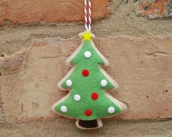 Felt Christmas tree cookie ornament