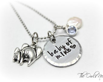 Hand Stamped Baby Of Mine Mother Child Elephant Necklace