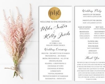 Gold Wedding Ceremony Program, Ceremony Program Printable, Template, Wedding Party, Glitter, Metallic, Wedding program PDF, Digital, DIY